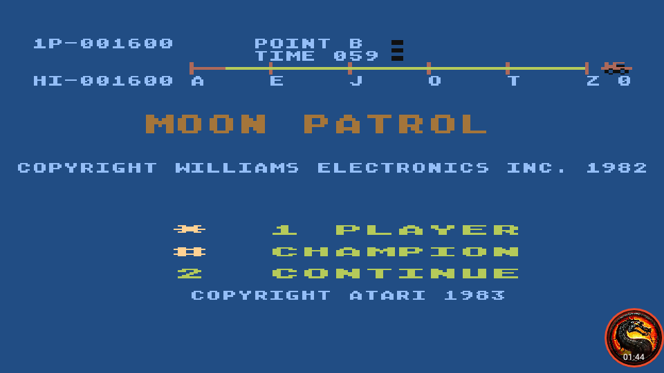 omargeddon: Moon Patrol [Championship Course] (Atari 400/800/XL/XE Emulated) 1,600 points on 2020-05-27 02:14:15