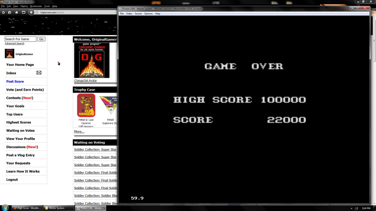OriginalGamer: Moonwalker (Sega Master System Emulated) 22,000 points on 2018-02-19 18:22:55