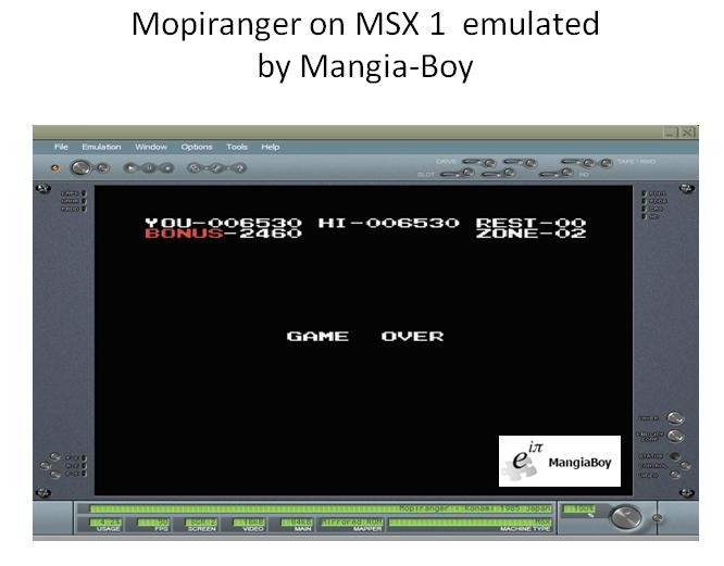 MangiaBoy: Mopiranger (MSX Emulated) 6,530 points on 2019-01-13 10:07:46