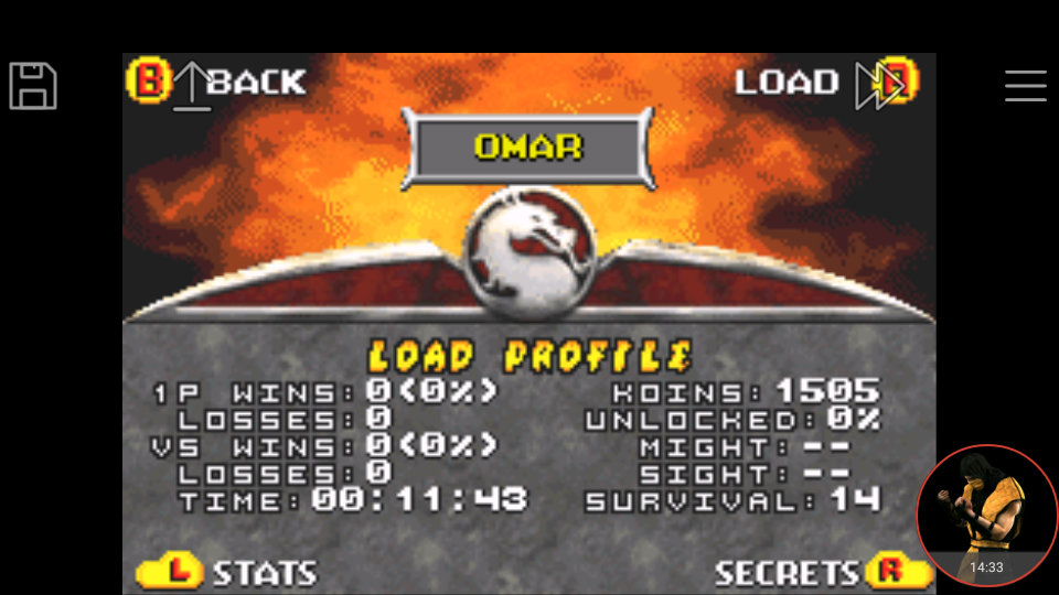 omargeddon: Mortal Kombat Deadly Alliance: Survival (GBA Emulated) 14 points on 2017-12-24 17:48:18