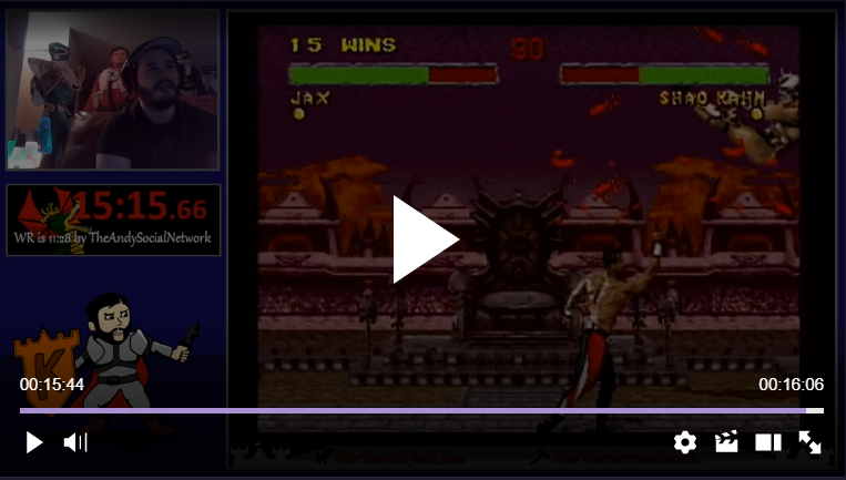 TheKombatKing: Mortal Kombat II: Very Hard [Win Streak] (SNES/Super Famicom) 16 points on 2018-02-17 02:52:53