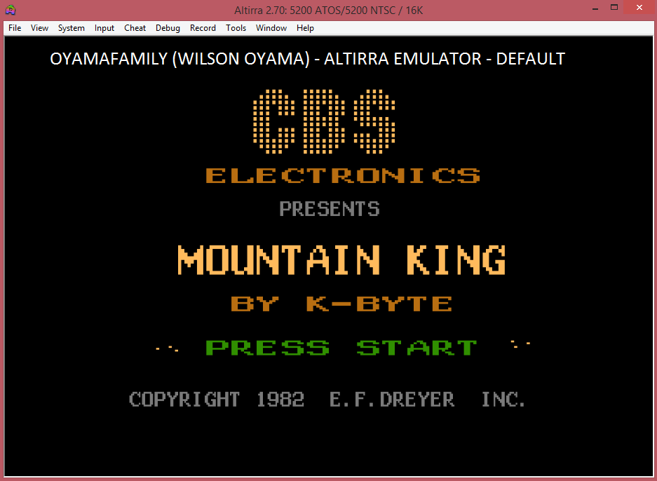 oyamafamily: Mountain King (Atari 5200 Emulated) 17,130 points on 2016-04-23 20:30:28