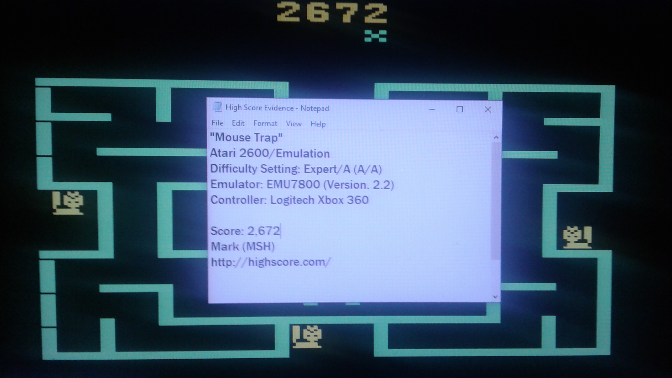 Mark: Mouse Trap (Atari 2600 Emulated Expert/A Mode) 2,672 points on 2019-03-12 23:40:12