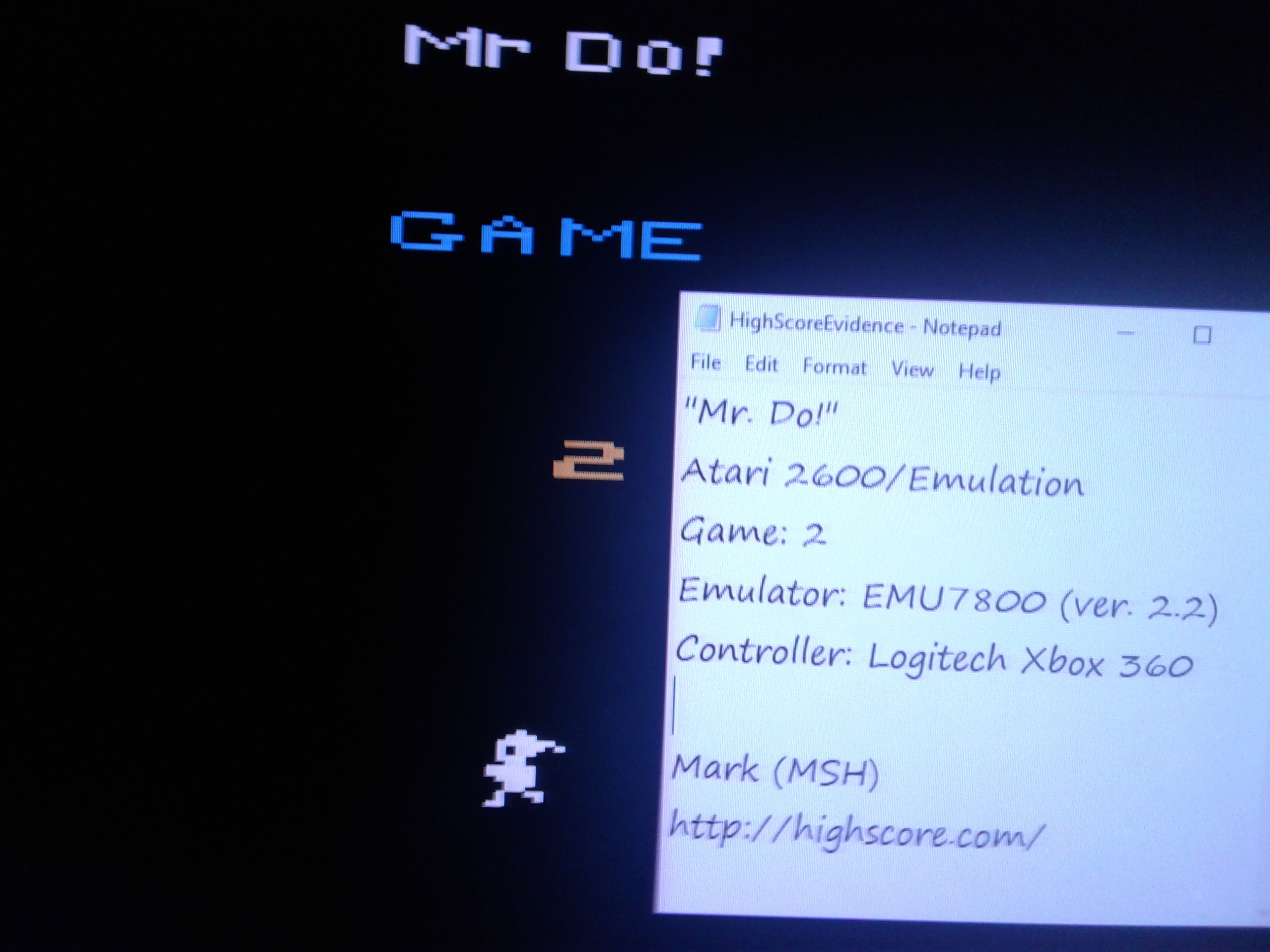 Mark: Mr. Do!: Game 2 (Atari 2600 Emulated) 16,450 points on 2019-02-12 01:08:07