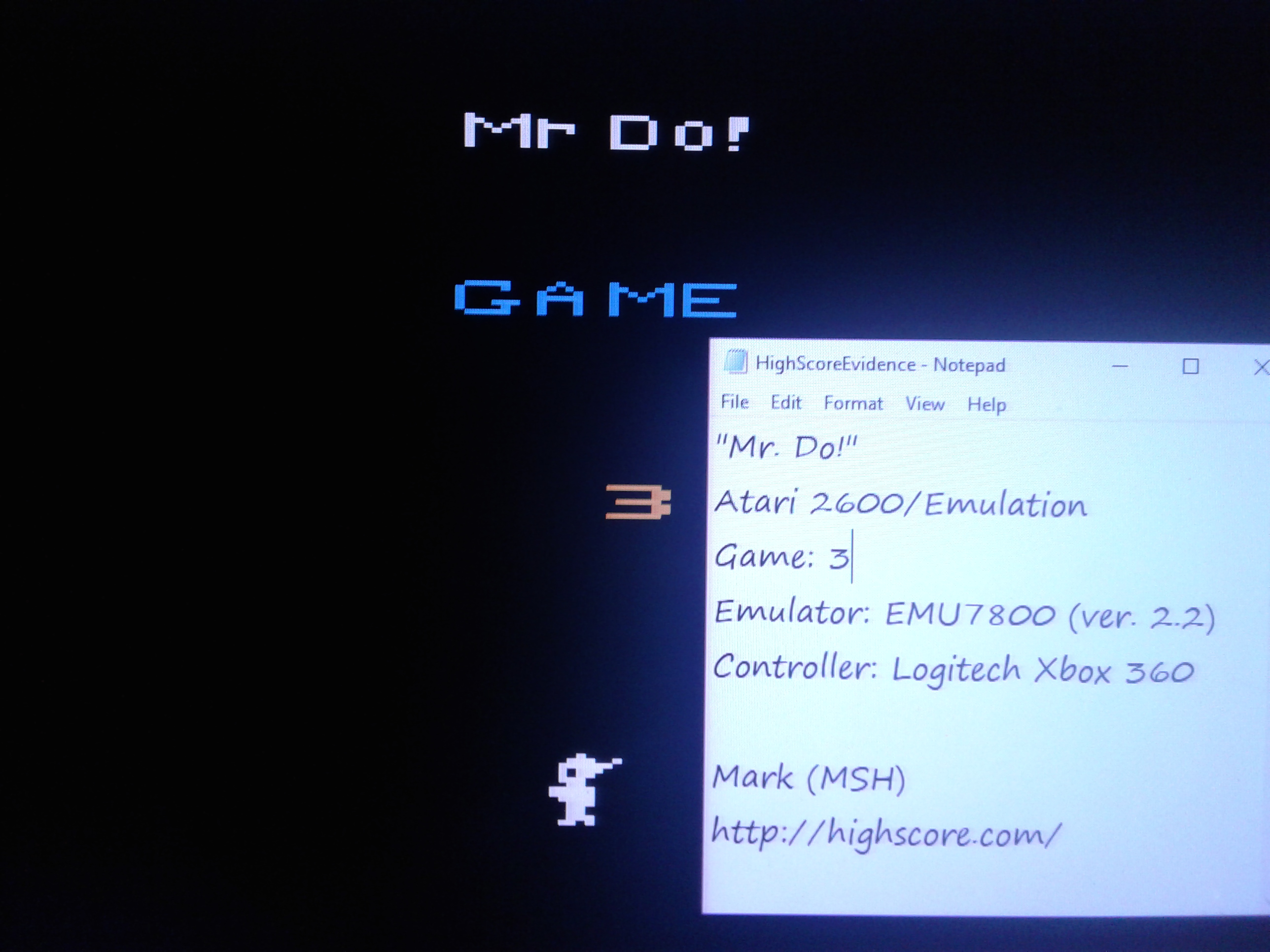 Mark: Mr. Do!: Game 3 (Atari 2600 Emulated) 15,100 points on 2019-02-12 01:11:40