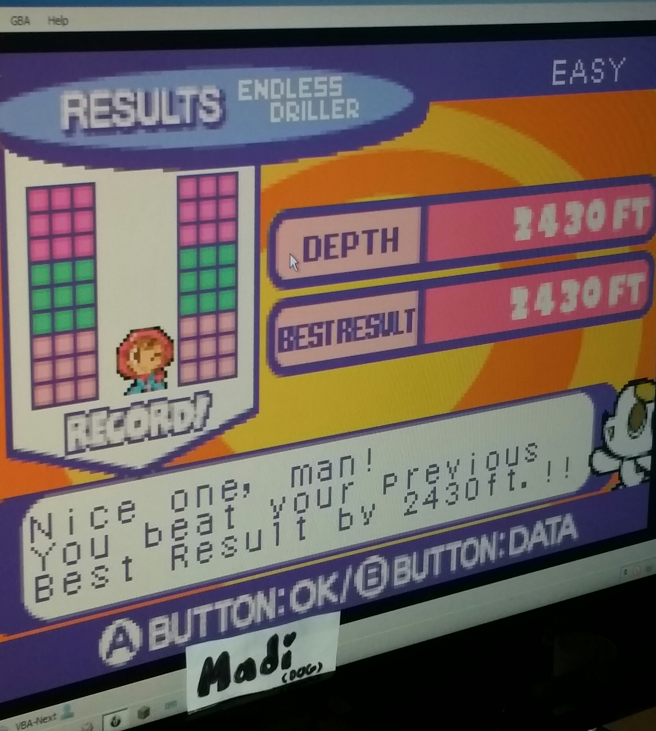 madi: Mr. Driller 2 [US]: Endless: Easy (GBA Emulated) 2,430 points on 2016-11-12 15:17:11