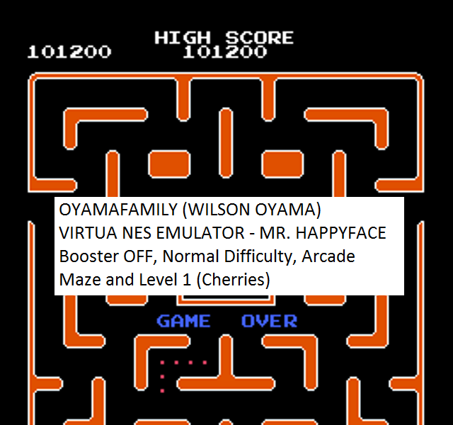 oyamafamily: Mr. Happy Face [Off/Normal/Arcade] Level 1 Start (NES/Famicom Emulated) 101,200 points on 2016-08-14 12:53:37