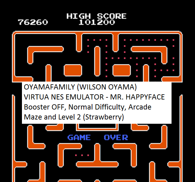 oyamafamily: Mr. Happy Face [Off/Normal/Arcade] Level 2 Start (NES/Famicom Emulated) 76,260 points on 2016-08-14 12:54:34