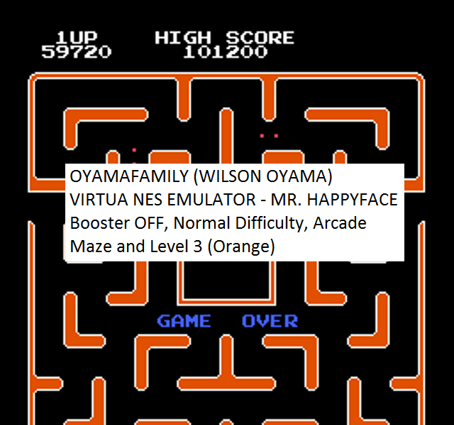 oyamafamily: Mr. Happy Face [Off/Normal/Arcade] Level 3 Start (NES/Famicom Emulated) 59,720 points on 2016-08-14 12:54:50