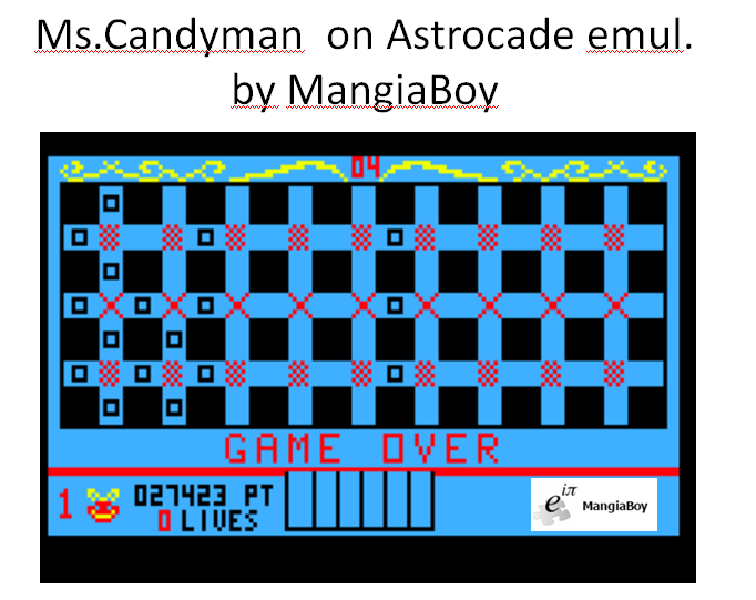 MangiaBoy: Ms. Candy Man (Astrocade Emulated) 27,423 points on 2016-01-09 20:36:52