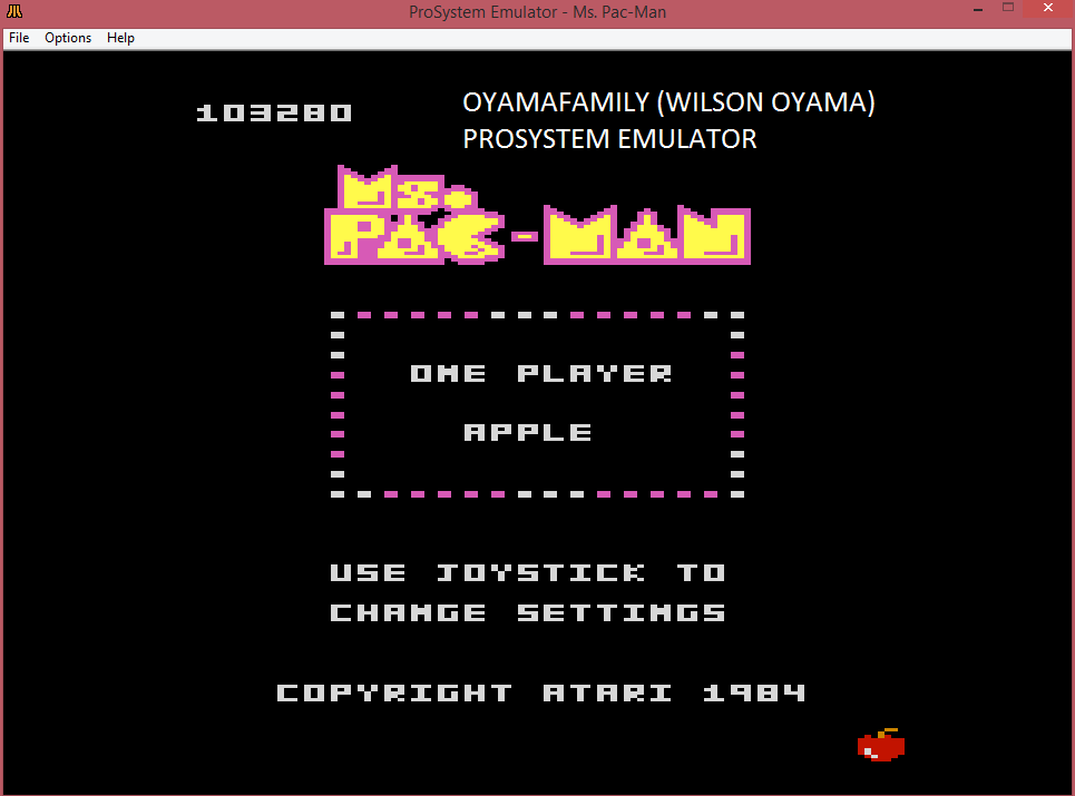 oyamafamily: Ms. Pac-Man: Apple Start (Atari 7800 Emulated) 103,280 points on 2016-03-06 12:32:28