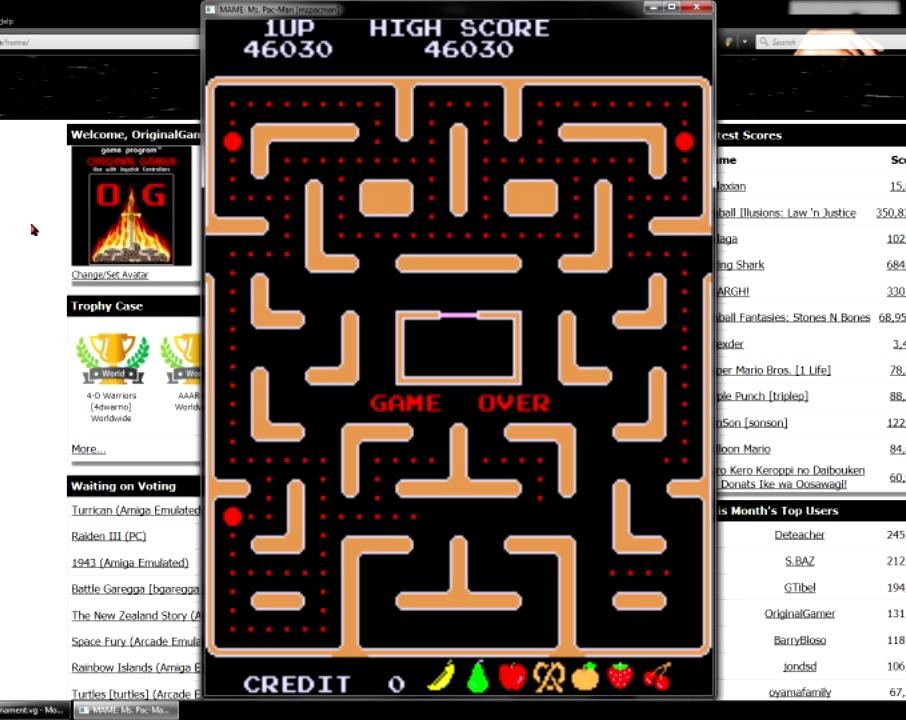 OriginalGamer: Ms. Pac-Man (Arcade Emulated / M.A.M.E.) 46,030 points on 2015-07-19 03:51:13