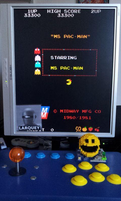 Larquey: Ms. Pac-Man (Arcade Emulated / M.A.M.E.) 33,300 points on 2017-02-25 06:16:35