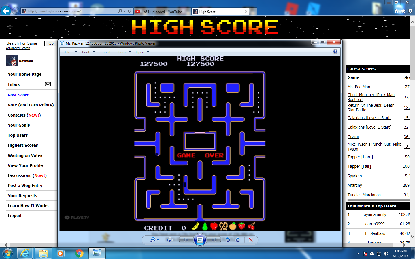 Ms. Pac-Man 127,500 points