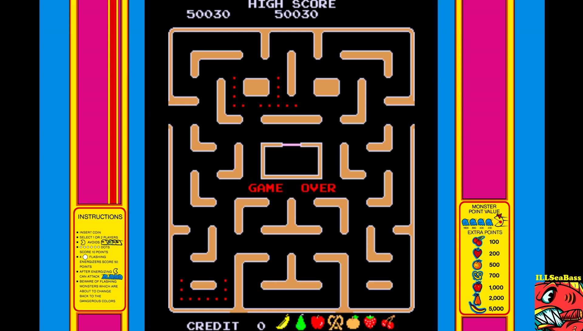 ILLSeaBass: Ms. Pac-Man (Arcade Emulated / M.A.M.E.) 50,030 points on 2017-07-15 10:05:01