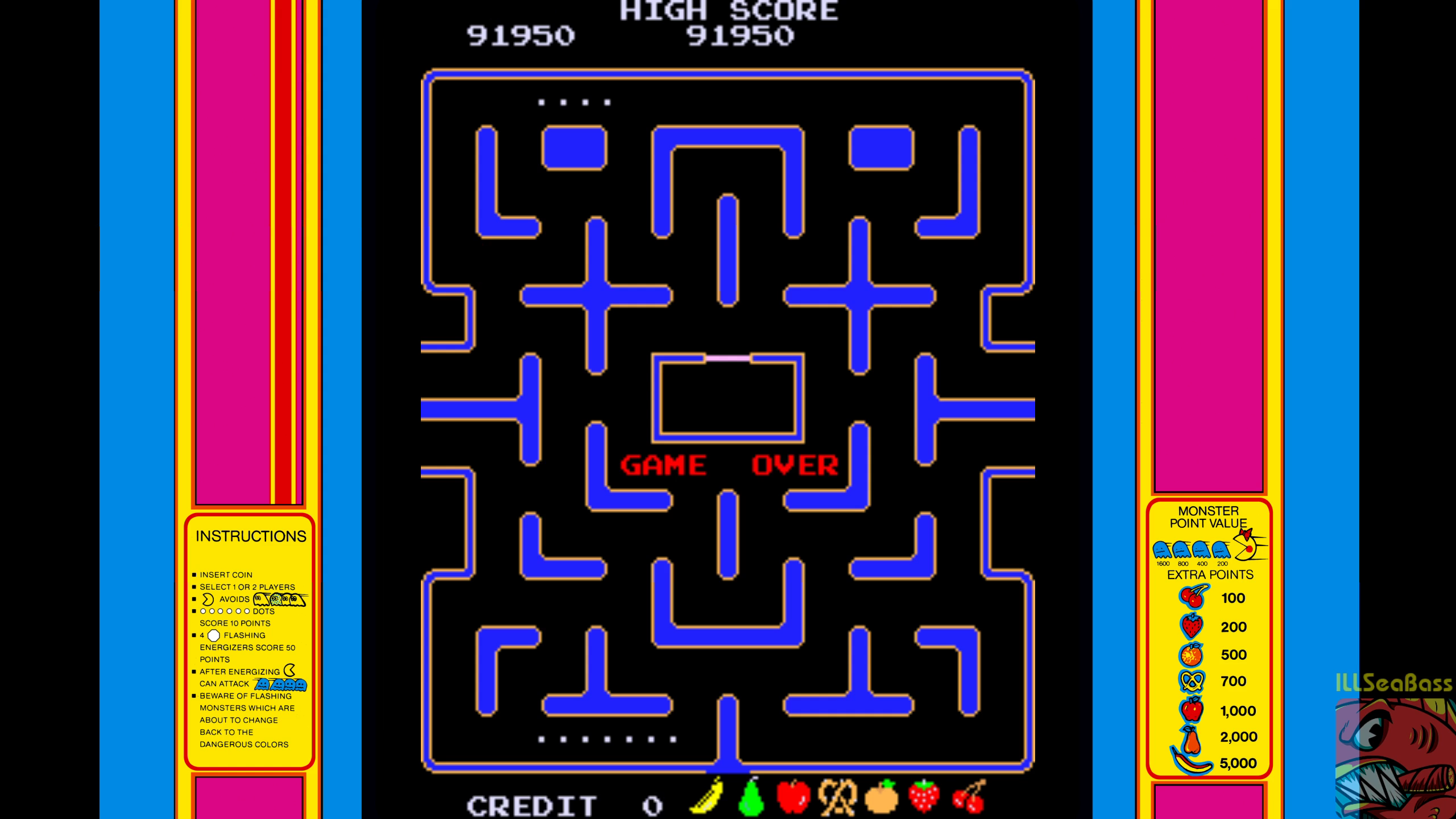 Ms. Pac-Man 91,950 points