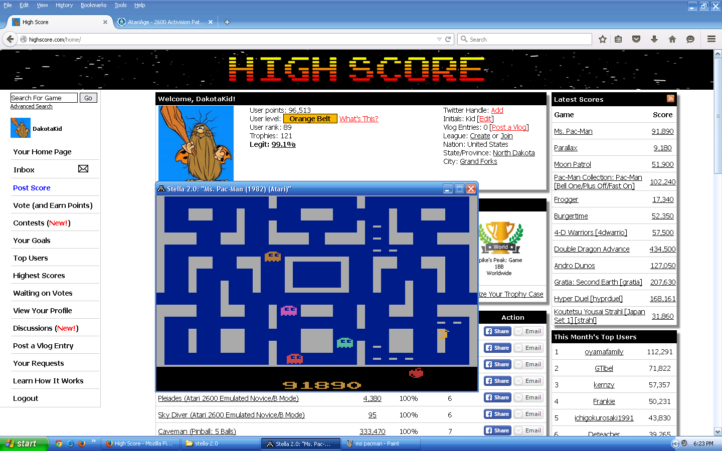 DakotaKid: Ms. Pac-Man (Atari 2600 Emulated) 91,890 points on 2015-09-15 18:21:53