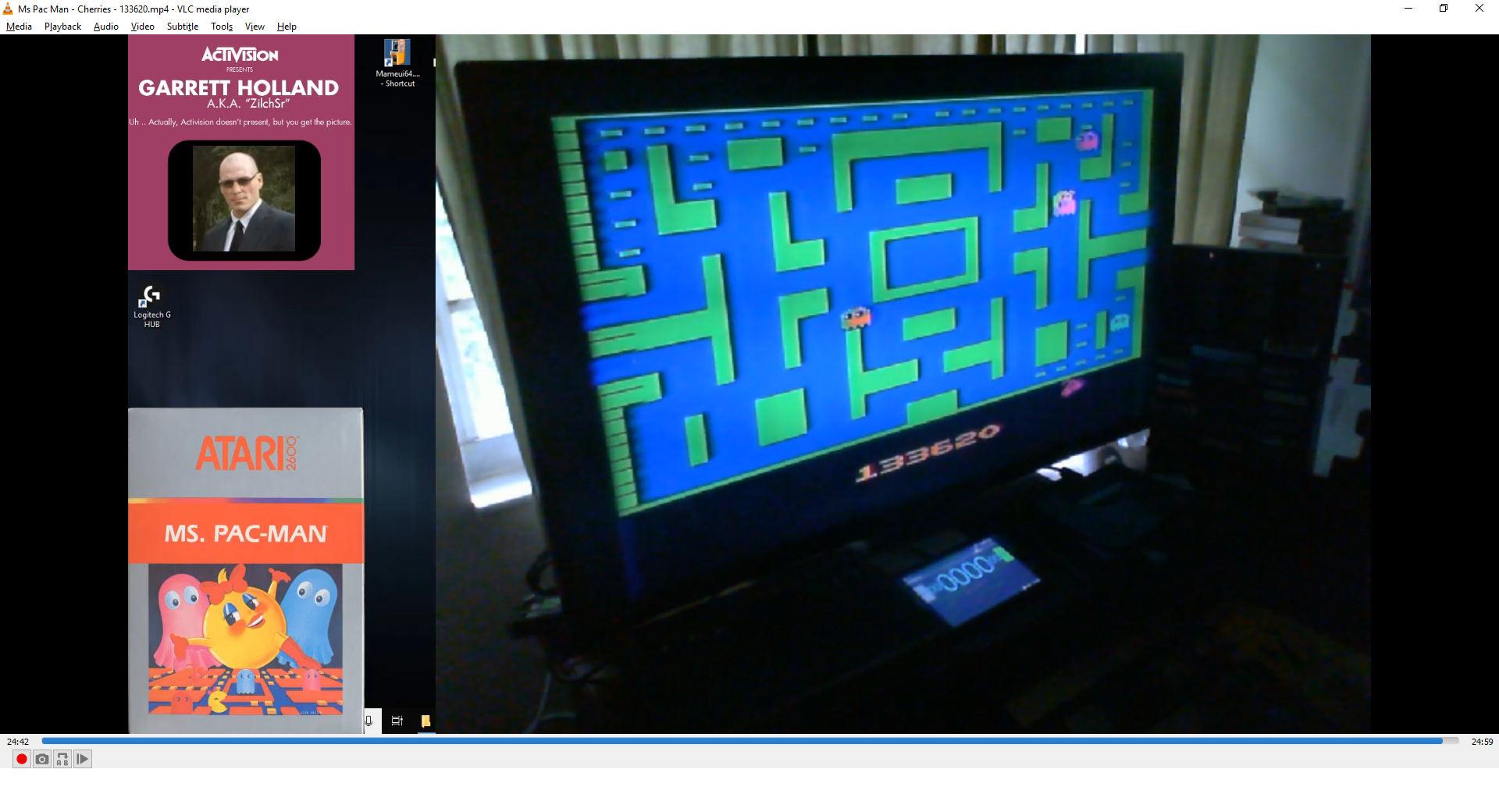 ZilchSr: Ms. Pac-Man (Atari 2600) 133,620 points on 2019-08-08 20:30:11