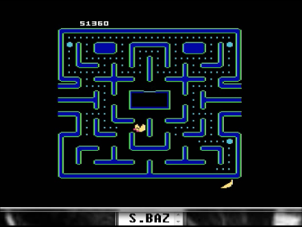 S.BAZ: Ms. Pac-Man [Banana Start] (Atari 400/800/XL/XE Emulated) 51,360 points on 2016-04-16 05:41:50