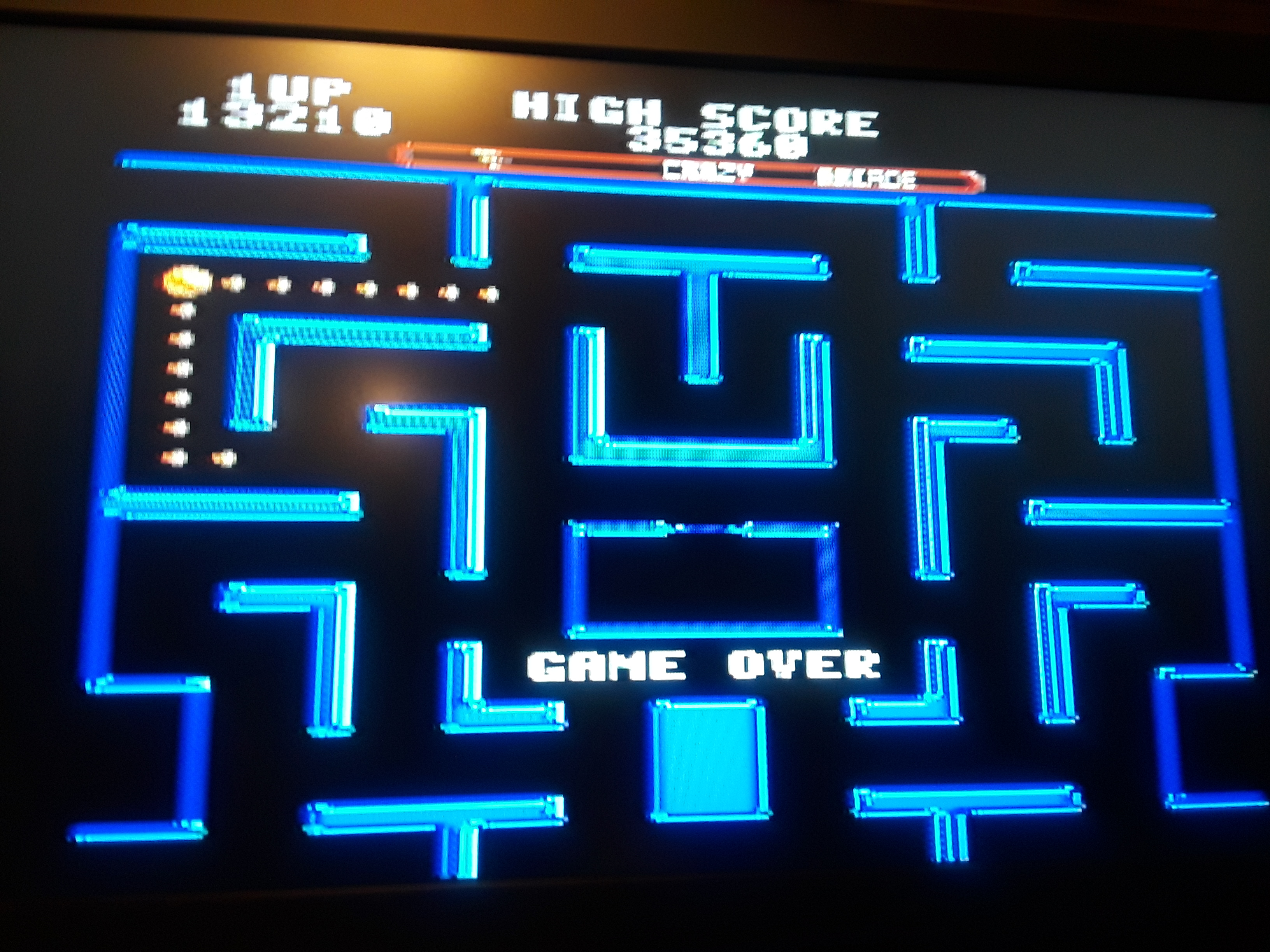 Ms. Pac-Man [On / Crazy / Arcade] 13,210 points