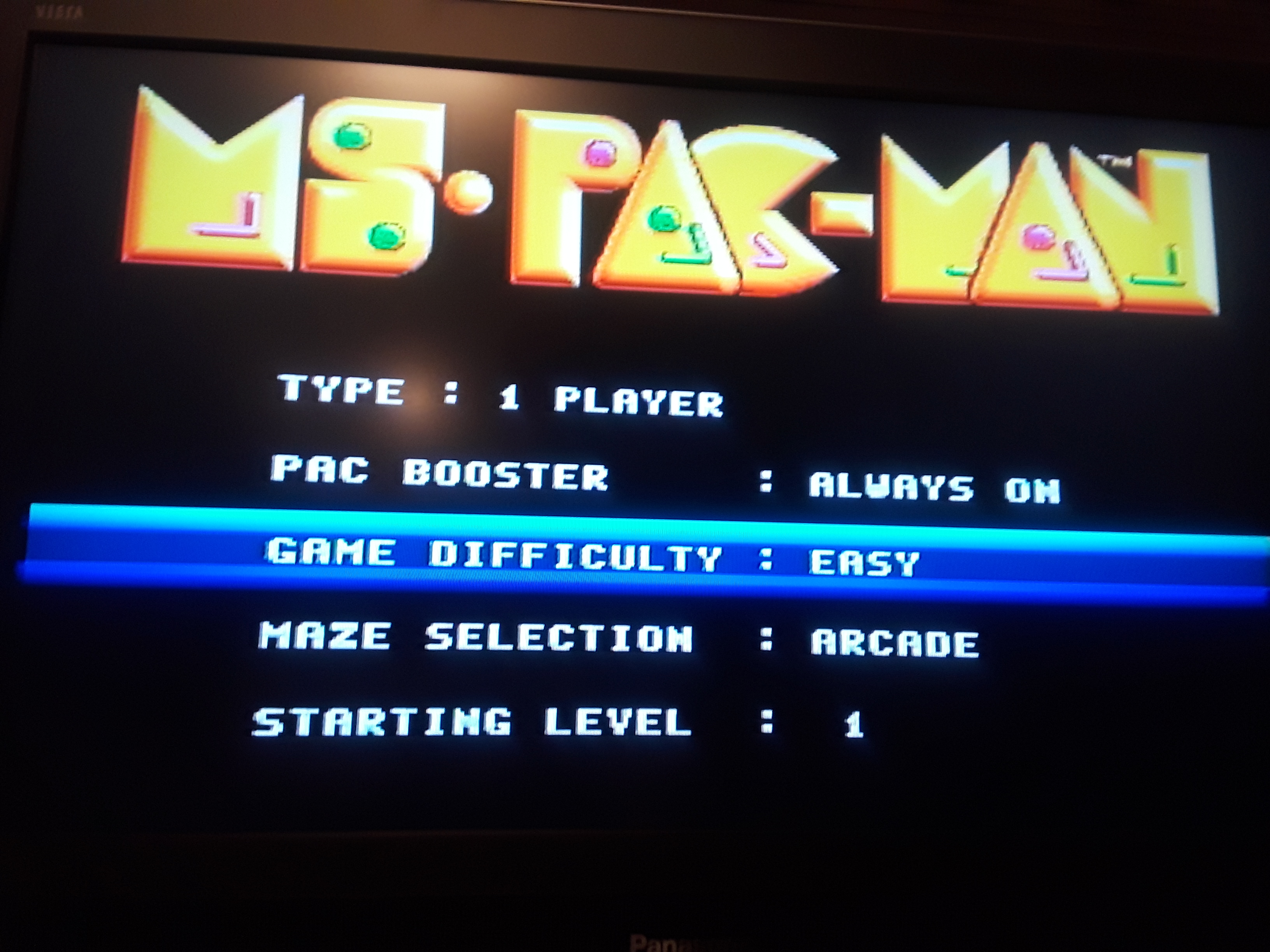 Ms. Pac-Man [On / Easy / Arcade] 32,950 points