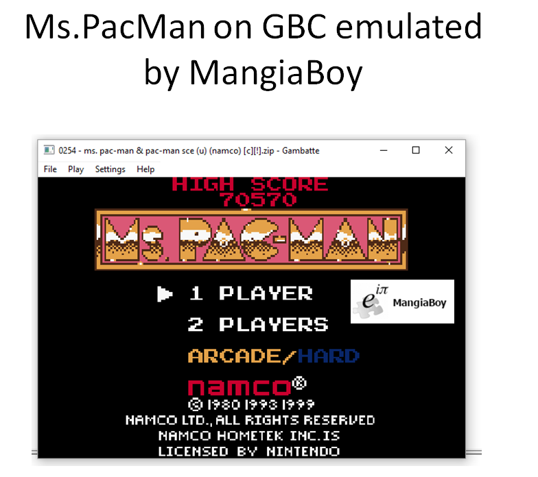 MangiaBoy: Ms. Pac-Man (Game Boy Color Emulated) 70,570 points on 2016-07-17 14:52:06