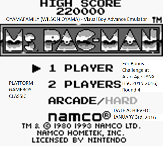 oyamafamily: Ms. Pac-Man (Game Boy Emulated) 220,000 points on 2016-01-04 18:26:59