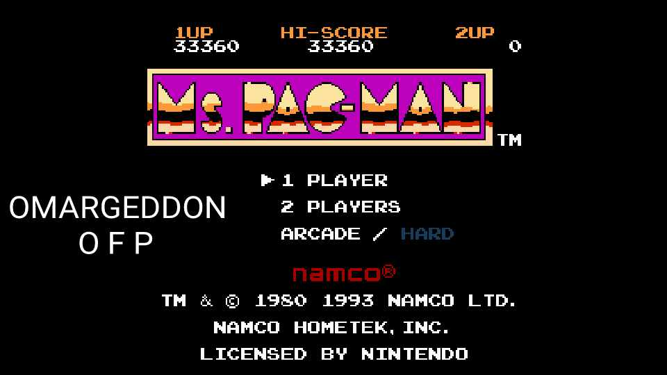 omargeddon: Ms. Pac-Man [Namco] (NES/Famicom Emulated) 33,360 points on 2016-12-13 23:25:37