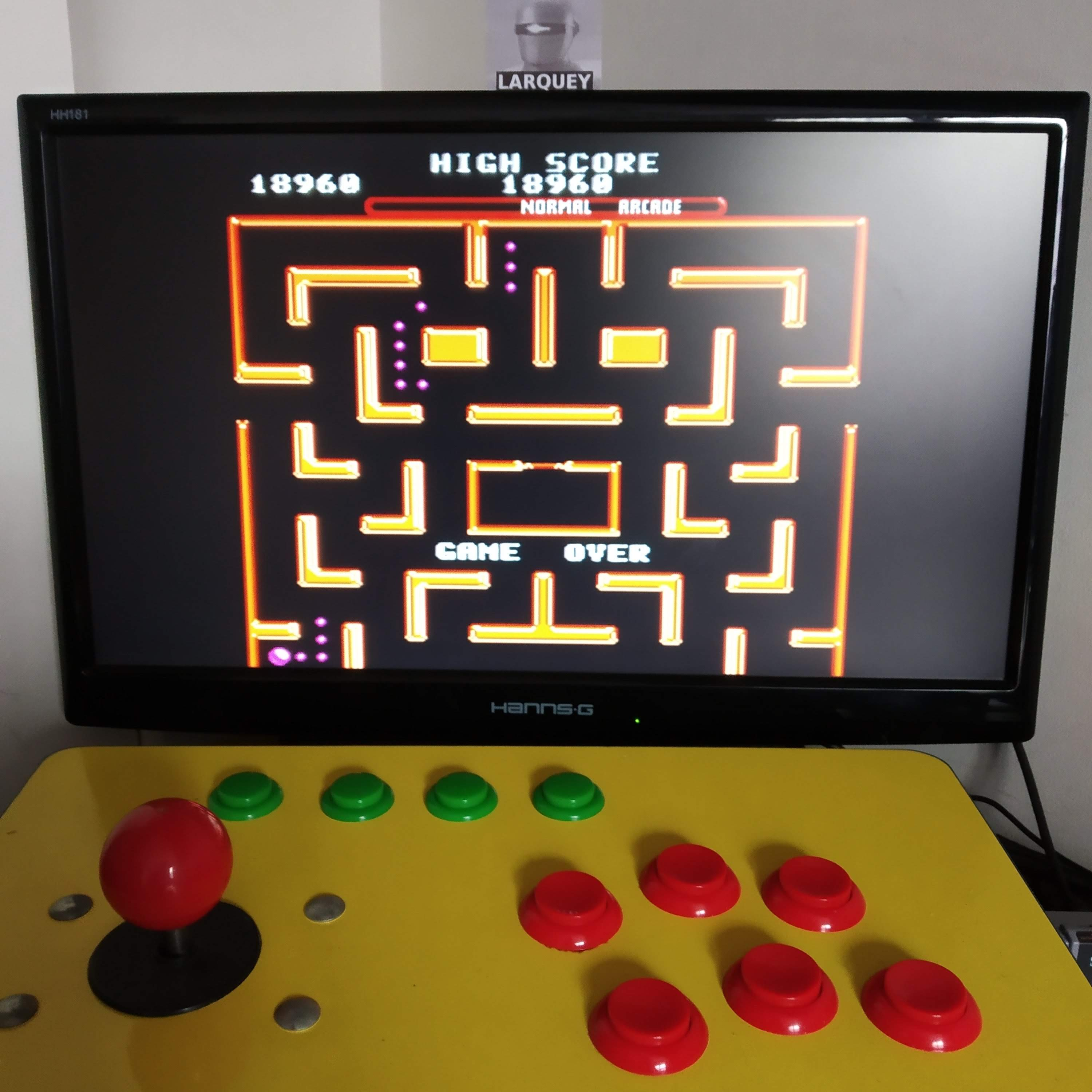 Larquey: Ms. Pac-Man [Off/ Normal/ Arcade/ Level 6 Start] (SNES/Super Famicom Emulated) 18,960 points on 2020-08-16 09:55:49