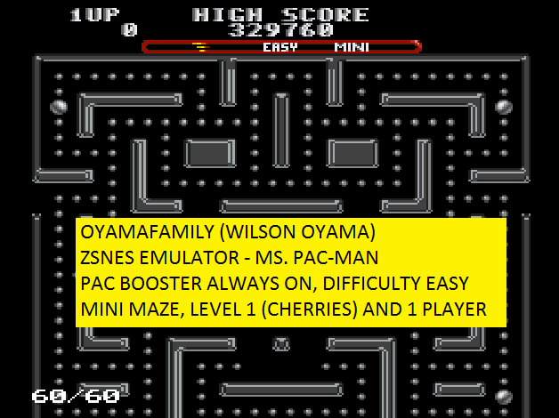 oyamafamily: Ms. Pac-Man [On/ Easy/ Mini/ Level 1 Start] (SNES/Super Famicom Emulated) 329,760 points on 2016-05-28 12:33:47