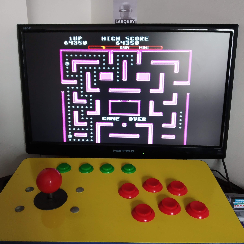Larquey: Ms. Pac-Man [On/ Easy/ Mini/ Level 6 Start] (SNES/Super Famicom Emulated) 64,350 points on 2020-08-16 09:51:02