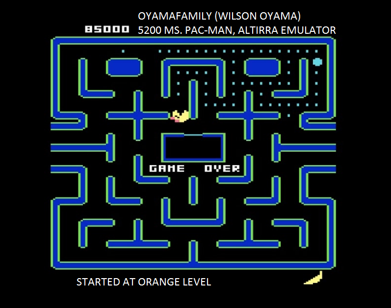 oyamafamily: Ms. Pac-Man [Orange Start] (Atari 5200 Emulated) 85,000 points on 2017-01-30 13:40:55