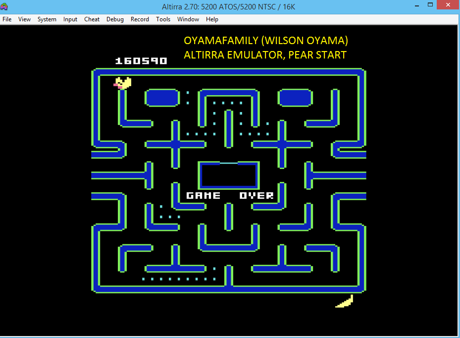oyamafamily: Ms. Pac-Man [Pear Start] (Atari 5200 Emulated) 160,590 points on 2016-06-03 20:43:27