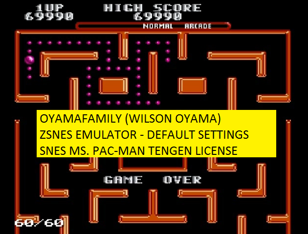 oyamafamily: Ms. Pac-Man (SNES/Super Famicom Emulated) 69,990 points on 2016-05-27 20:23:51