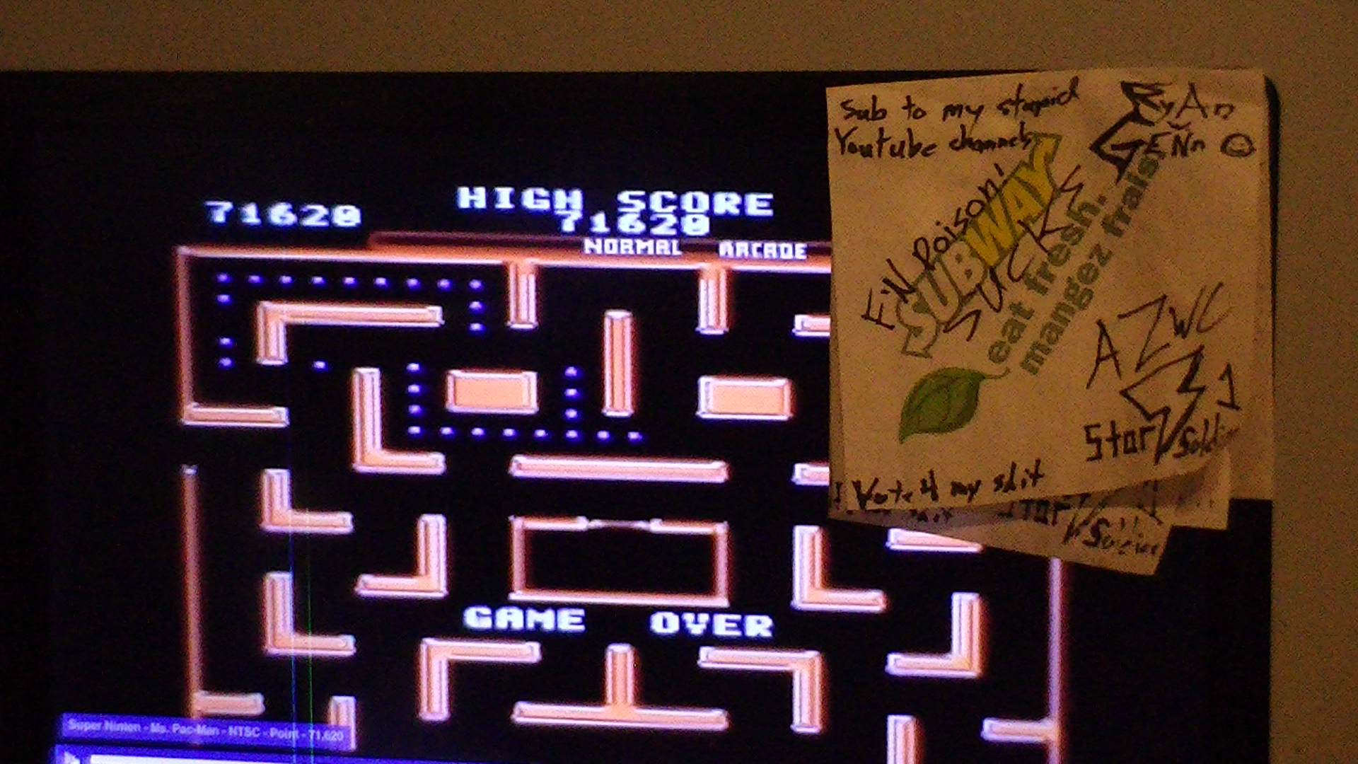 Ms. Pac-Man 71,620 points