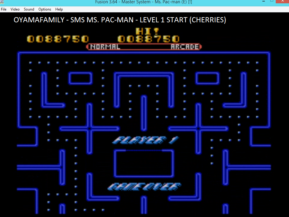 oyamafamily: Ms. Pac-Man (Sega Master System Emulated) 88,750 points on 2016-06-04 21:00:54