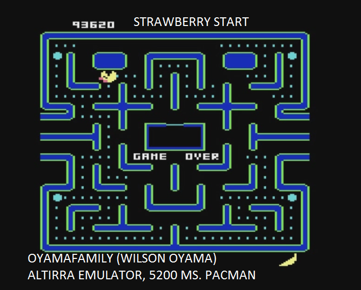 oyamafamily: Ms. Pac-Man [Strawberry Start] (Atari 5200 Emulated) 93,620 points on 2017-01-30 13:38:35