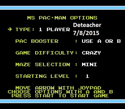 Deteacher: Ms. Pac-Man [Tengen] [AorB/ Crazy/ Mini/ Level 1 Start] (NES/Famicom Emulated) 43,970 points on 2015-07-08 21:51:15