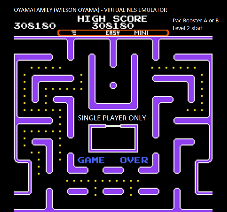 oyamafamily: Ms. Pac-Man [Tengen] [AorB/ Easy/ Mini/ Level 2 Start] (NES/Famicom Emulated) 308,180 points on 2016-01-05 18:10:11