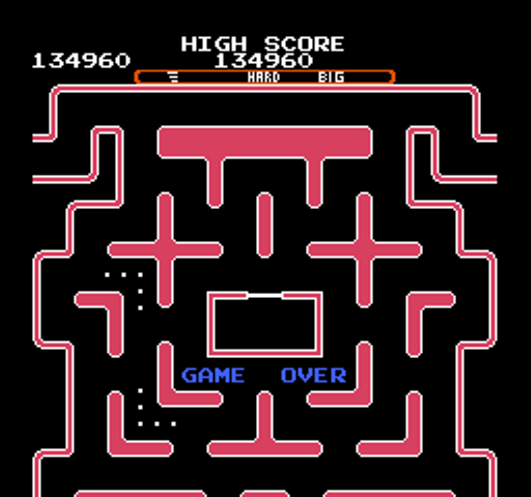 oyamafamily: Ms. Pac-Man [Tengen] [AorB/ Hard/ Big/ Level 2 Start] (NES/Famicom Emulated) 134,960 points on 2016-01-27 10:30:44