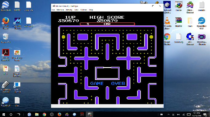MikeDietrich: Ms. Pac-Man [Tengen] [On/ Easy/ Arcade/ Level 3 Start] (NES/Famicom Emulated) 350,870 points on 2016-12-23 13:33:23