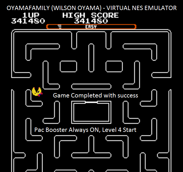 oyamafamily: Ms. Pac-Man [Tengen] [On/ Easy/ Arcade/ Level 4 Start] (NES/Famicom Emulated) 341,480 points on 2016-01-10 13:12:34