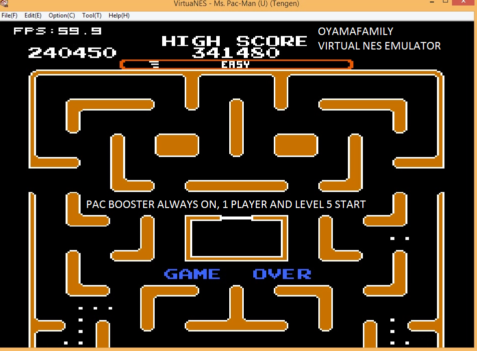 oyamafamily: Ms. Pac-Man [Tengen] [On/ Easy/ Arcade/ Level 5 Start] (NES/Famicom Emulated) 240,450 points on 2016-01-10 13:12:44