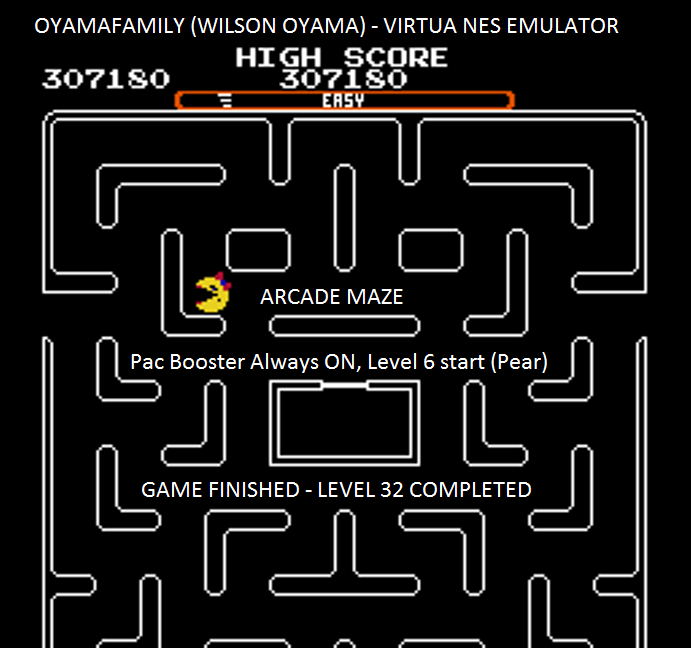oyamafamily: Ms. Pac-Man [Tengen] [On/ Easy/ Arcade/ Level 6 Start] (NES/Famicom Emulated) 307,180 points on 2016-03-22 20:59:51