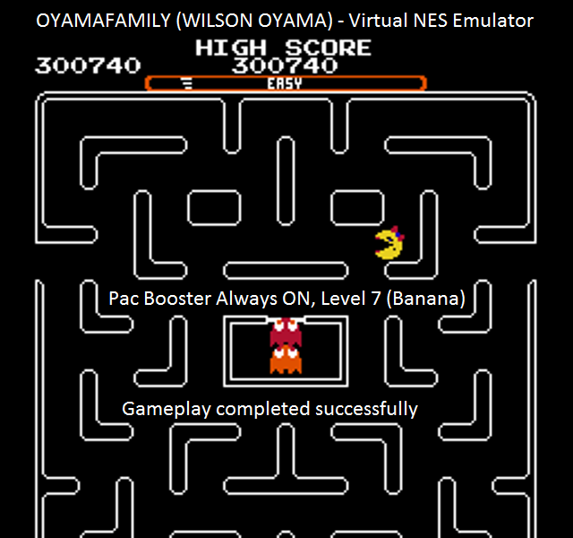 oyamafamily: Ms. Pac-Man [Tengen] [On/ Easy/ Arcade/ Level 7 Start] (NES/Famicom Emulated) 300,740 points on 2016-01-10 04:54:13