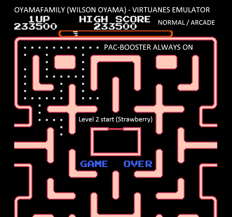 oyamafamily: Ms. Pac-Man [Tengen] [On/ Normal/ Arcade/ Level 2 Start] (NES/Famicom Emulated) 233,500 points on 2016-01-21 11:29:27