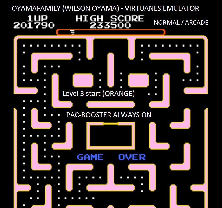 oyamafamily: Ms. Pac-Man [Tengen] [On/ Normal/ Arcade/ Level 3 Start] (NES/Famicom Emulated) 201,790 points on 2016-01-21 11:29:36