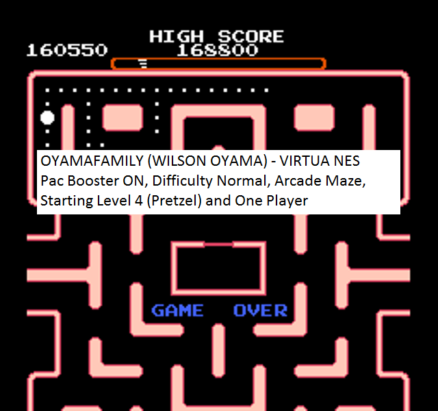 oyamafamily: Ms. Pac-Man [Tengen] [On/ Normal/ Arcade/ Level 4 Start] (NES/Famicom Emulated) 160,550 points on 2016-01-23 19:07:51