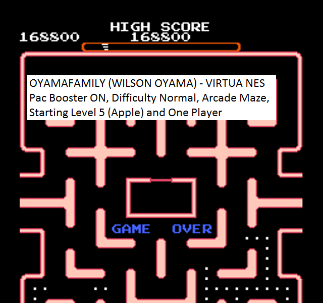 oyamafamily: Ms. Pac-Man [Tengen] [On/ Normal/ Arcade/ Level 5 Start] (NES/Famicom Emulated) 168,800 points on 2016-01-23 19:08:01