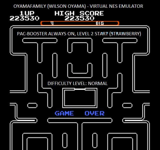 oyamafamily: Ms. Pac-Man [Tengen] [On/ Normal/ Big/ Level 2 Start] (NES/Famicom Emulated) 223,530 points on 2016-01-14 17:32:26